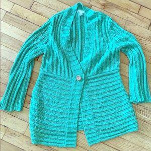 Charter Club size M green sweater cardigan